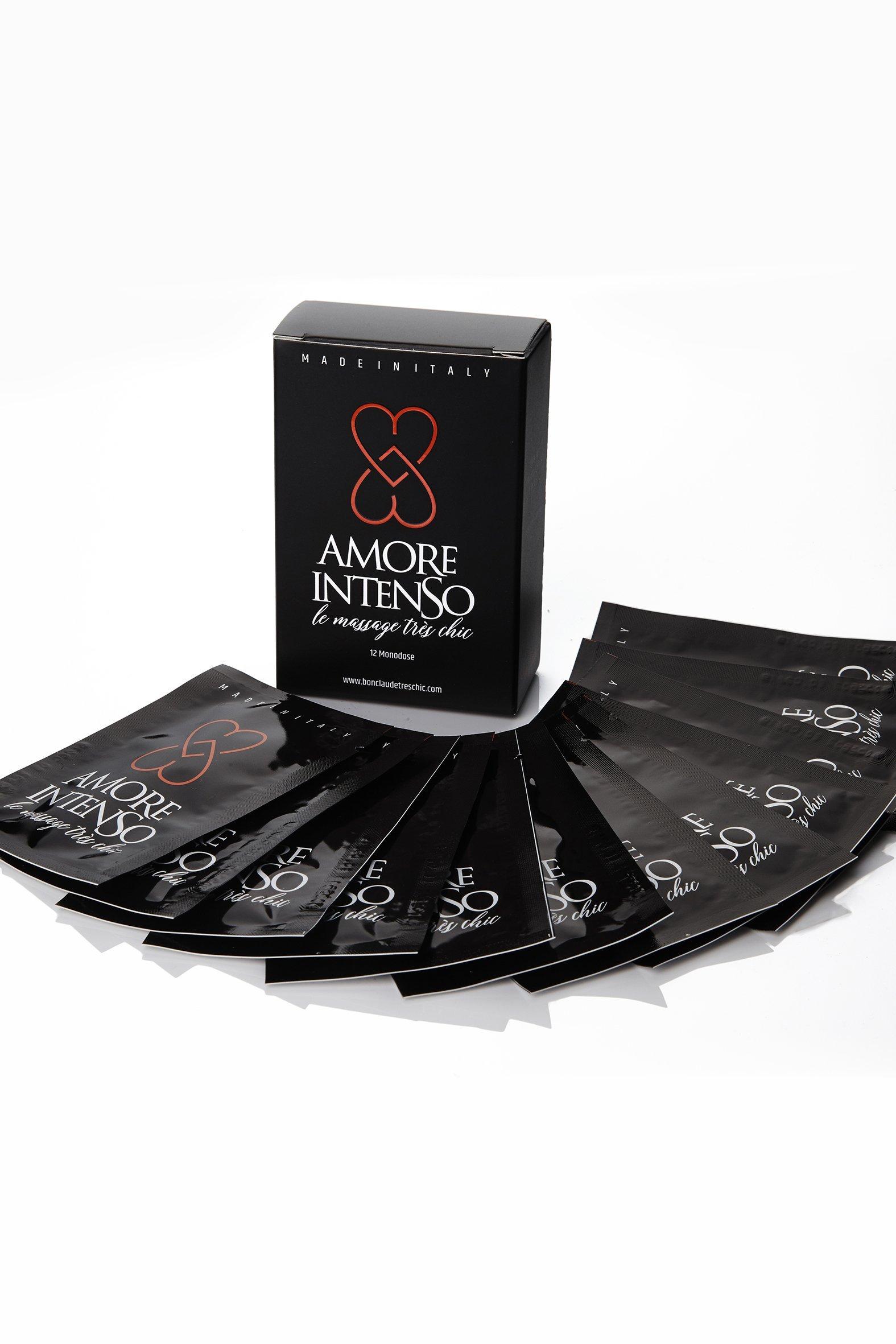 AMORE INTENSO le massage très chic – Scatola n.12 Monodose 4ml olio massaggio e lubrificante intimo profumato